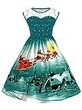 UNIFACO Women's Christmas Santa Claus Print Flared A Line Dress Sleeveless Plus Size Xmas Gift Green Large