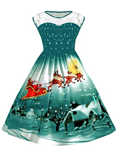 UNIFACO Women's Christmas Santa Claus Print Flared A Line Dress Sleeveless Plus Size Xmas Gift Green Large