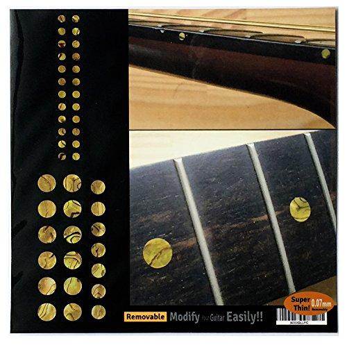 Inlay - Juego de adhesivos para diapasón de guitarra y bajo, diseño de lunares, color ocre