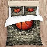 Juego de funda nórdica, baloncesto deportivo incrustado en una pared de ladrillo Impresión de imagen de destrucción de entrenamiento de energía, juego de cama decorativo de 3 piezas con 2 fundas de al