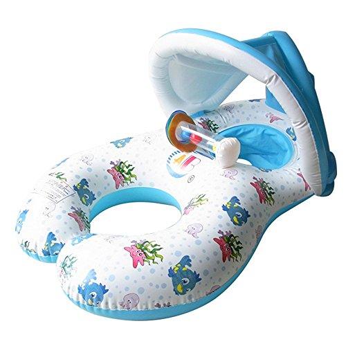 Doppel schwimmring Schwimmhilfen SchwimmenRingfürBabyvon 6 Monaten bis 2 Jahre und Mutter Aufblasbare Schwimmreifen Schwimmen Ring Pool Boot Spielzeug Sonnenschutz und UV-Vorbereitung(Weiß)