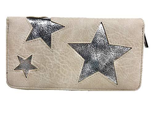 Treend24 Elegant dames portemonnee met 1 hoofdvak ritssluiting glitter portemonnee geld zak metallic portemonnee brief tas