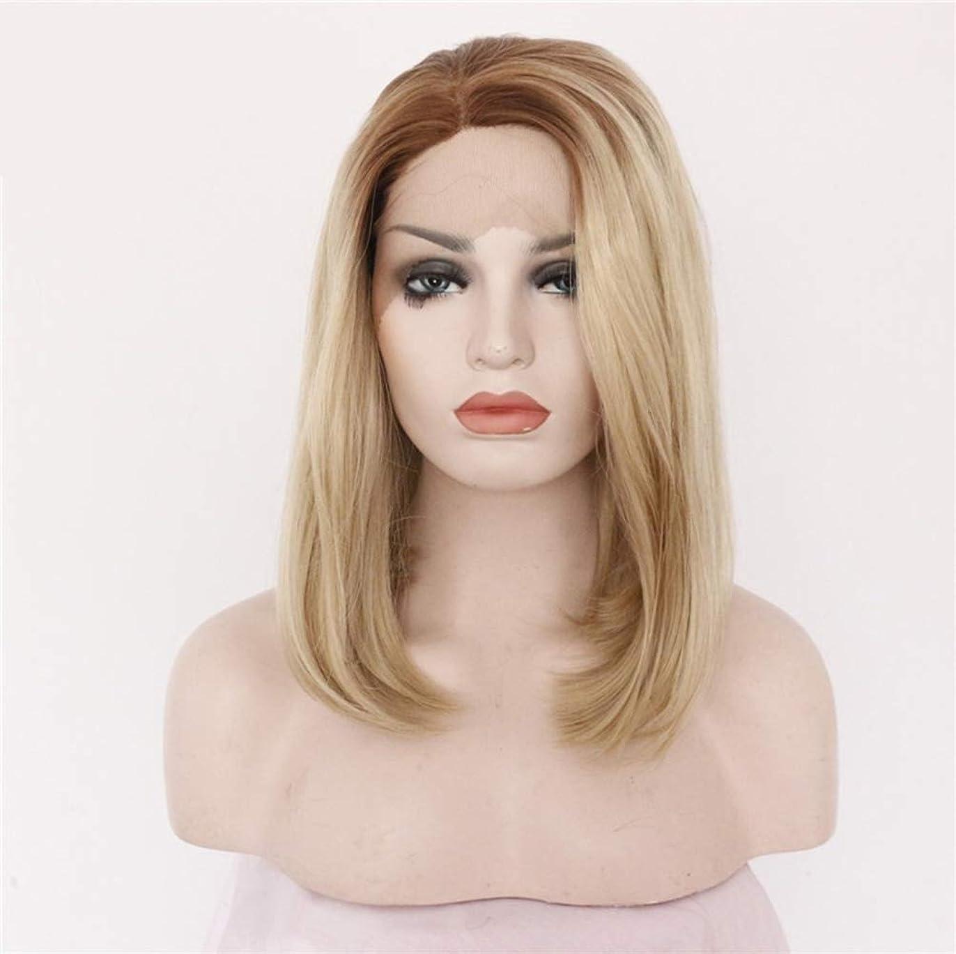 かつらストレートボブレースフロントかつら人間の髪の毛プレ摘み取ら自然な生え際付きベビーヘアー130%密度16インチ