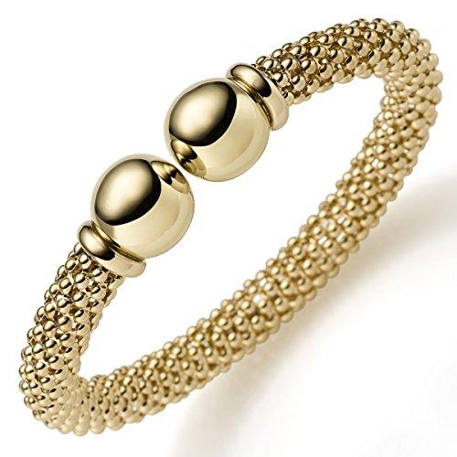 Himbeer Armspange Armband Armschmuck aus 585 Gold Gelbgold 8mm breit, oval