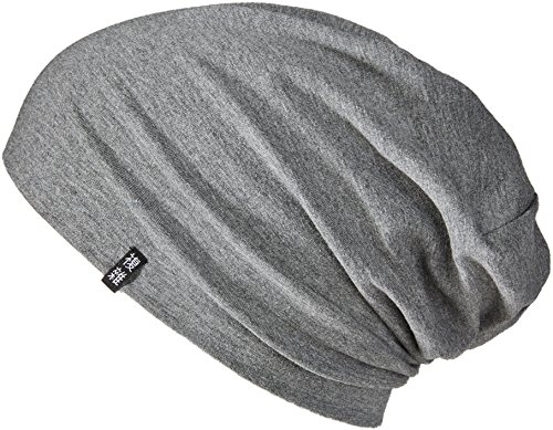 Enter the Complex® Leichte Jersey Mütze, Damen und Herren, Slouch Beanie aus Baumwolle, Elastisch, L/XL, Dunkel Grau Meliert