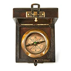 "✔ Antique look Handcrafted Vintage Brass Compass with Beautiful Rosewood box (80mm x 80mm x 40mm) / (3.14"" x 3.14"" x 1.57"") ✔ The Compass Brass comes in a Rosewood Box which makes it a Perfect Gift for Travelers, Collector's or to your Friend or Rela..."