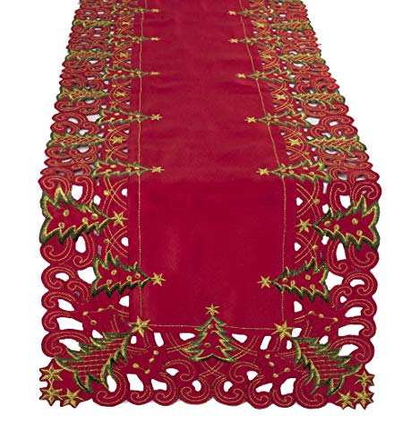 """Fennco Styles Pandora Collection Holiday Christmas Tree Tablecloth - 2 Colors (Red, 16""""x68"""" Table Runner)"""