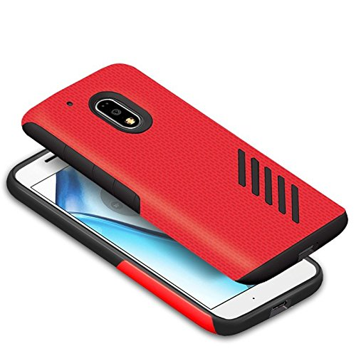 Orzly Grip-Pro Case for MOTO G4 & G4 PLUS - ROYAL RED (2016 Lenovo/Motorola Model) - Durable & Light-Weight Twin Layer Case for Added Grip & Protection