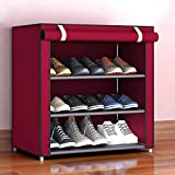 TOPmountain Zapatero portátil (4 Niveles, Rojo) Gabinete Organizador de Almacenamiento de Zapatos, con Cubierta de Tela no Tejida Torre de Zapatos de 9 Pares