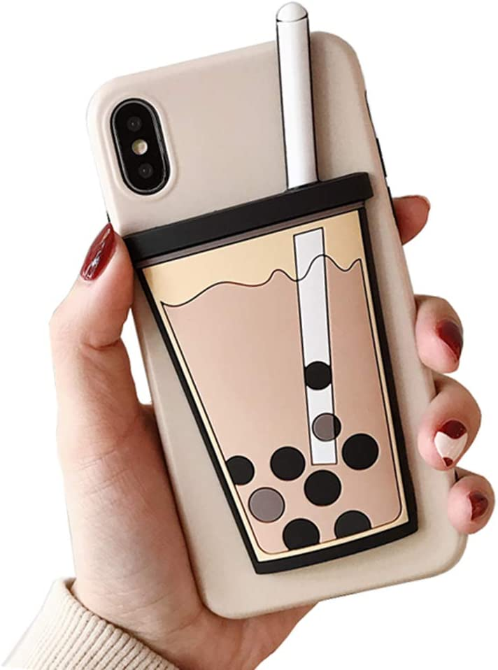 UnnFiko 3D Cartoon Case Compatible with iPhone 7/ iPhone 8, Super Cute Drink Soft Silicone Rubber Bumper Cover Cool Fun Protective Case (Bubble Tea, iPhone 7/8)