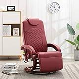 FAMIROSA Sillón de Masaje reclinable TV Cuero sintético Color Vino tinto-8723