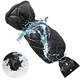Ice Scraper Mitt Windshield Snow Scrapers with Waterproof Ice Brush Freezer Tool Car Truck Frost Winter Scraper Snow Remover Glove Lined of Thick Fleece for Car (Black)