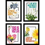 FATMUG Framed Synthetic Wall Paintings Inspiring Quotes for Office and Home -Set of 4 - Happiness