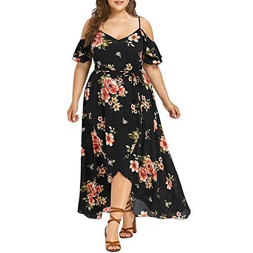 VEMOW Plus Size Elegante Damen Frauen Casual Kurzarm Kalt Schulter Boho Blumendruck Casual Täglichen Party Strand Langes Kleid Schulterfrei Strandkleid (Schwarz, 54 DE / 5XL CN)