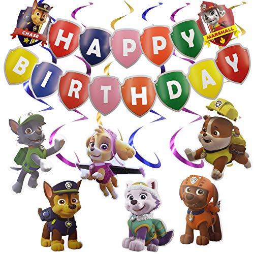 WENTS Paw Patrol Geburtstag Dekoration Set Kompakt Happy Birthday Deko Spirale Konfetti Partykette Paw Patrol für Kinder 16 Stück