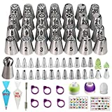 YOQXHY 120 Pcs Russian Piping Tips Set with 28 Numbered Russian Tips,24 Numbered Icing Tips,1 Ball Tip,2 Leaf Tips,52 Pastry Bags,3 Couplers,6 Ties & 1 Brush for Cake Decorating Cupcake Baking