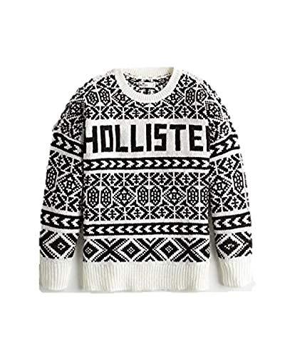 Hollister New Abercrombie Medium Women Black White Jumper Sweater Oversized Long Sleeve TOP SZ : Medium/M