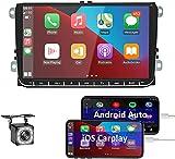 Oiliehu Android Autoradio avec Apple Carplay Navi pour VW Autoradio écran Tactile De 9 Pouces Prend en Charge la Commande au Volant Bluetooth GPS USB Double + Camera de recul