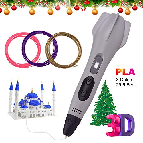 Aibecy 3D-pen met 12 kleuren 1,75 mm PLA filament navullingen LCD-scherm 3D-printer verstoppingsvrij 3D-tekenprinter pen automatische slaap met PLA ABS filament Standard