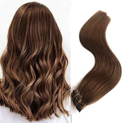 Myfashionhair Clip en extensiones de cabello 100% humano de Remy real 70g 22inch 7 piezas por tipo clip en marrón castaño recto sedoso de la trama del pelo de Remy real