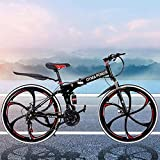 26in Folding Mountain Bike, 21-Speed Mountain Bicycles with Disc Brakes/Full Suspension for Adults, Exercise Fitness Mens Womens Outdoor Bicycle (6-Spoke Wheels)
