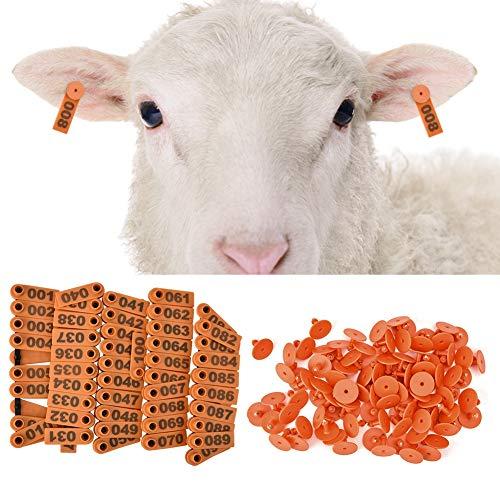 ナンバーイヤータグ、明るい色のTPU家畜イヤータグ、ヤギ鹿犬豚用の耐久性1.18インチプラスチック(Orange)