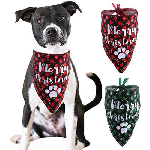 Meilily_Haarband Dog Bandana Christmas Pet Costume Stylish Santa Scarf Triangle Bibs Kerchief