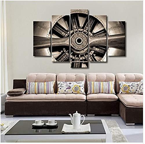 5 Panneaux Vintage Toile Art Mur Décor Turbine Avion Hélice Jet Moteur Moderne Décor À La Maison Mur pour Salonpas De Cadre