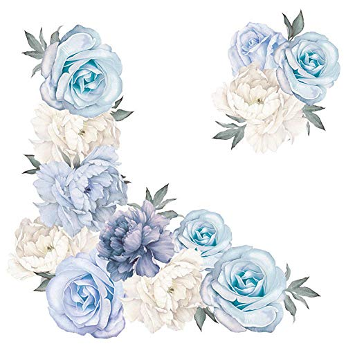 Peony Lavender Flower DIY Wall Sticker Home Bedroom Decal Art Mural Romantic Charming Home Decor-Blue_60x30cm