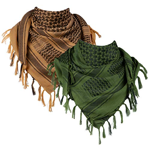 FREE SOLDIER 100% Cotton Military Shemagh Tactical Desert Keffiyeh Head Neck Scarf Arab Wrap with Tassel 43x43 inches 2 Pack (Coyote Brown \& Army Green)