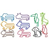 DOT DOT Animal Paper Clips 10 Assorted Colors, Jumbo Fun Shape Paper Clips 80pcs + Gift Box(Design 2020), Unique Design Animal Stationery for Cookbook File Decoration Bookmark Planner Paper Clips