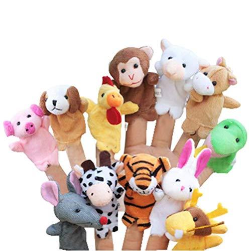 fansheng 12pcs zodiaco chino suave animal marioneta, juguetes de dedo de dibujos animados regalo de felpa contar historias para niños adultos