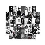 Kit de collage de pared de 50 piezas para sala de estar, imágenes estéticas, blanco y negro, impresiones artísticas para oficina (4 x 6 pulgadas)