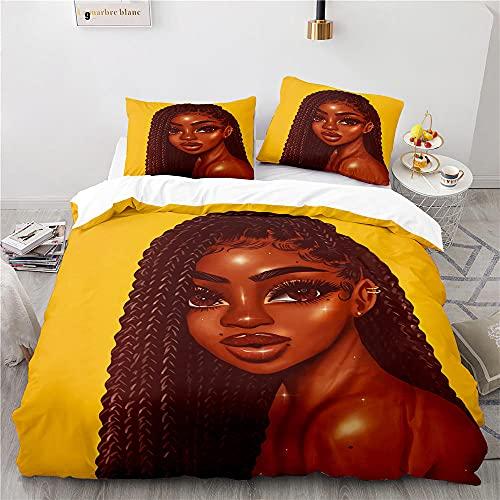 Sängkläder set 3 delar svart flicka påslakan påslakan king size sängar mjuk smidig enkel skötsel anti-allergisk inklusive påslakan 220 x 240 cm och 2 örngott 50 x 70 cm (kung)