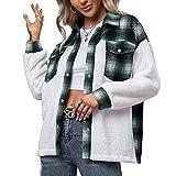 Aurlust Shacket - Chaqueta informal para mujer, forro polar, costura a presión, abrigo abierto con bolsillos, camisas de cuadros de gran tamaño para mujer, verde, S
