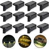 Lampe de clôture solaire étanche, lumière de pont solaire, lampe d'escalier, lampes solaires de jardin LED IP65 pour clôtures d'escalier de patio (Lumière chaude-Noir, 12 PCS)