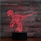 3D lámpara interior decoración jurásico dinosaurio raptores regalo para el niño 7 colores impresionante llevó noche luz lámpara Onlymygod
