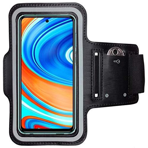 CoverKingz Armtasche für Xiaomi Redmi Note 9 Pro Sportarmband mit Schlüsselfach, Laufarmband Fitness, Handy Armband Schwarz