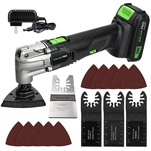 GALAX PRO Oscillating Tool, 20V Lithium Ion Cordless Oscillating Multi Tool with 1.3Ah Battery and Charger, 3pcs Blade and 10pcs Sanding Papers for Sanding, Grinding…