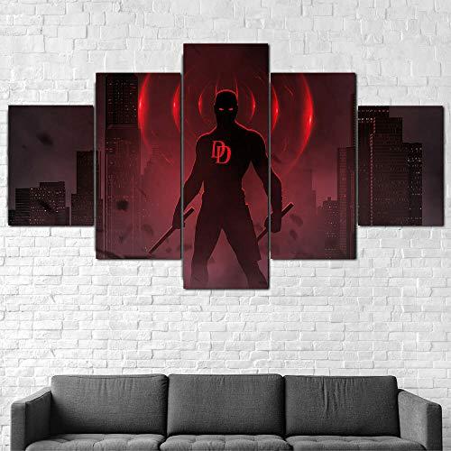Cuadro En Lienzo 200X100Cm Daredevil Bosslogic Superhéroe Impresión De 5 Piezas Material Tejido No Tejido Impresión Artística Imagen Gráfica Decor Pared