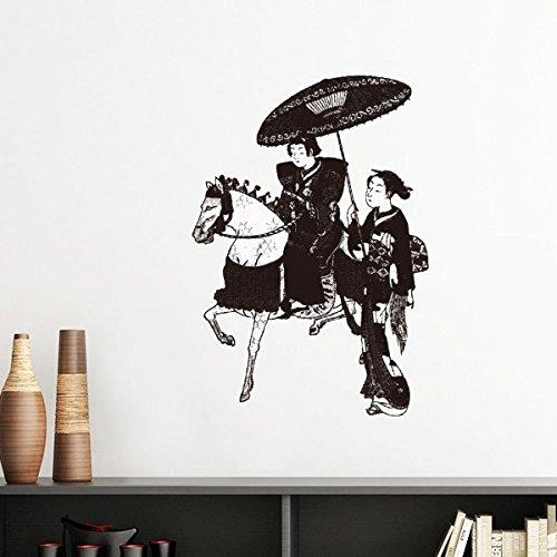 Japan Traditionele Cultuur Zwarte Kimono Vrouwen Rijden Paard Paraplu Lijn Tekening Schets Japanse Stijl Kunst Illustratie Verwijderbare Muursticker Art Decals Mural DIY Behang voor Room Decal 80cm Zwart