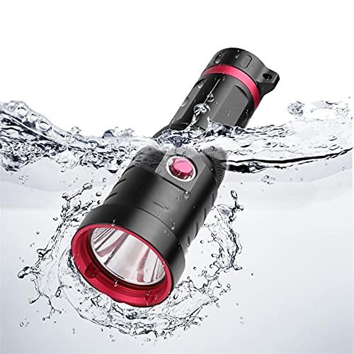 ENHONGDZ La más nueva linterna de buceo potente lámpara subacuática recargable impermeable buceo antorcha luz (color emisor: A, tamaño: 1)