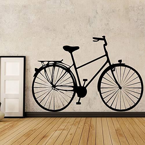 Pegatina de pared con patrón de bicicleta de estilo antiguo para sala de estar, decoración de pared de dormitorio, arte autoadhesivo, Mural clásico impermeable A8 43x69cm