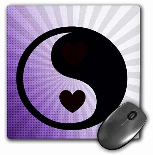 3Drose 8 X 8 X 0.25 Inches Mouse Pad Purple Inspiration Yin Yang with Heart, Zen Art (mp_52729_1)