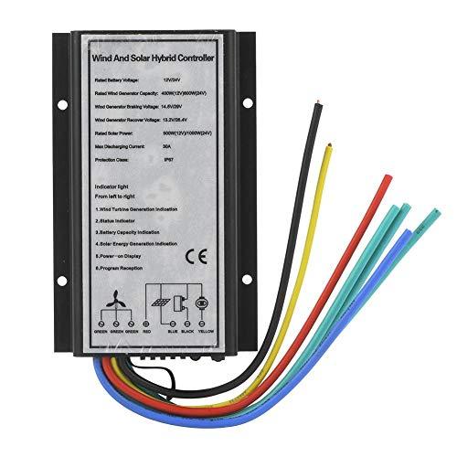Regolatore di Carica Ibrida Vento/Solare,(Vento:400W/12V;800W/24V-Energia Solare:500W/12V;1000W/24V),per Sistema di Energia Ibrida Fotovoltaica Wind e Sistema di Monitoraggio dell\'en