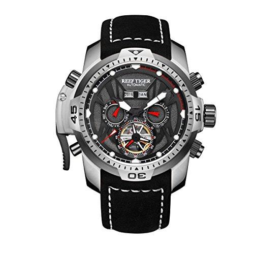 REEF TIGER Herren Uhr analog Automatik mit Leder Armband RGA3532-YBBLR