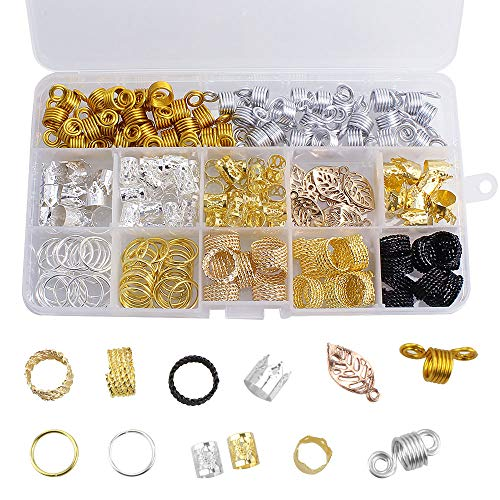 Dreamtop - Accesorios de decoración para el cabello, con espirales y cuentas de metal y aluminio para trenzas y rastas, con caja de almacenamiento, 200 unidades