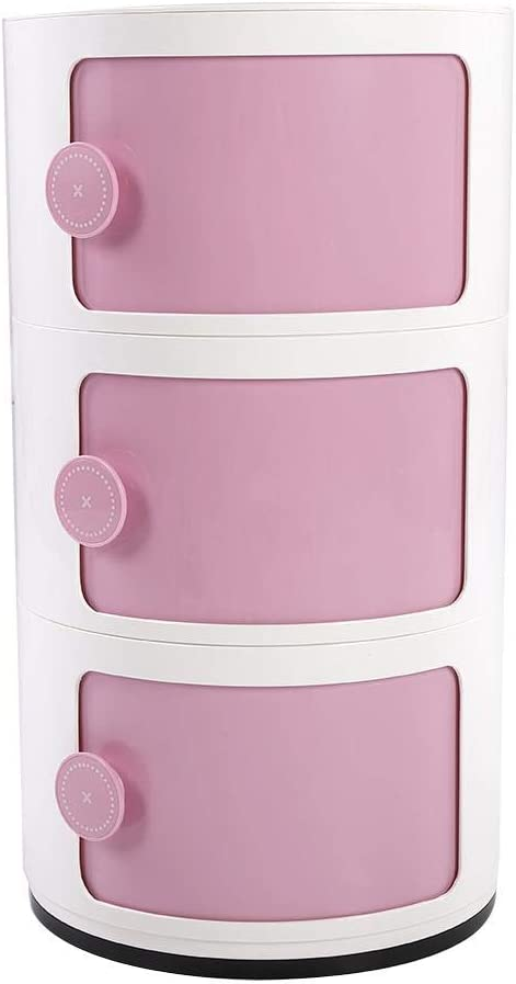EBTOOLS Storage Cabinet Drawer Set,3 Tier Round Sliding Door Stand Shelves Height Adjustable Storage Unit Componibili Makeup Storing Container Waterproof Storage Cabinet for Office Living Room Pink