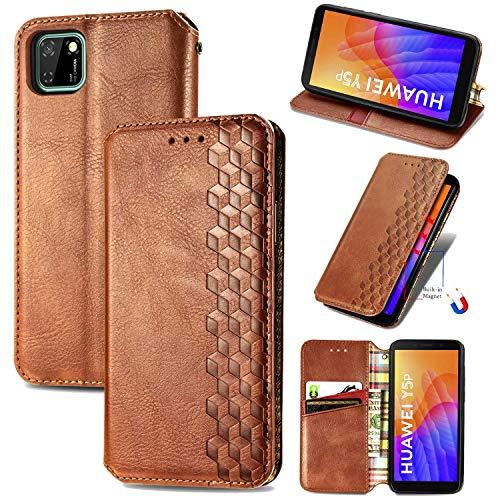 Miagon Huawei Y5P Mode Hülle,Retro PU Leder Flip Brieftasche Abdeckung Magnetverschluss Folio Ständer Kartensteckplätze Handyhülle,Braun