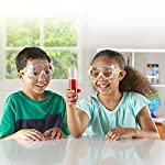 hand2mind 5-Inch Childrens' Safety Glasses, Easy to Label Goggles for Chemical Splash or Projectile For Kids At Home, Classroom, Labs (Pack of 4) (18105-4) Kids doing Science